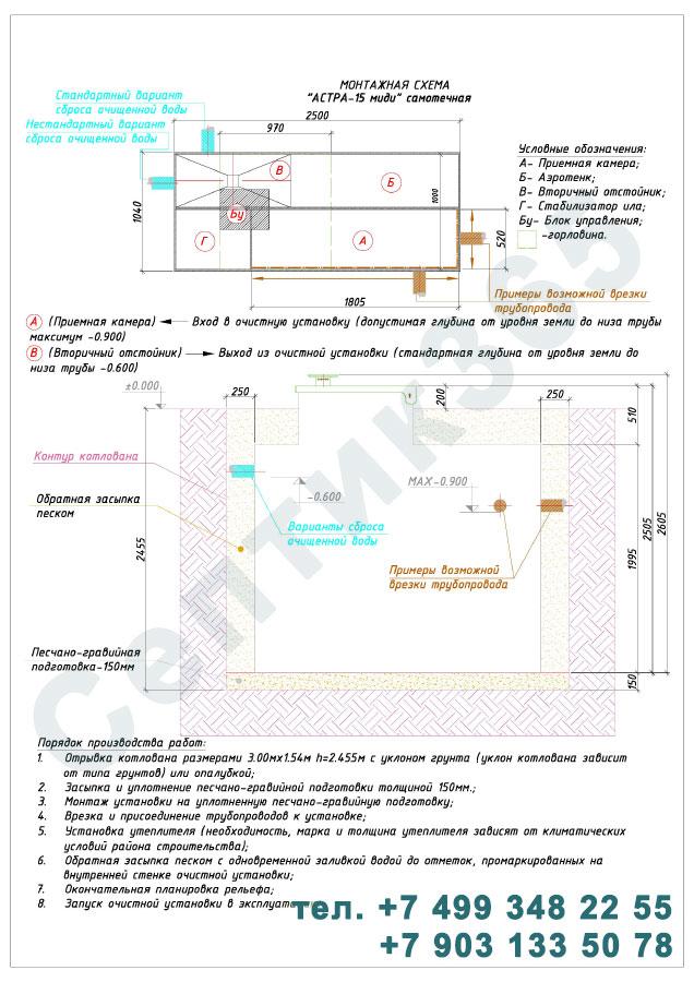 Монтажная схема септик Юнилос Астра 15 Миди