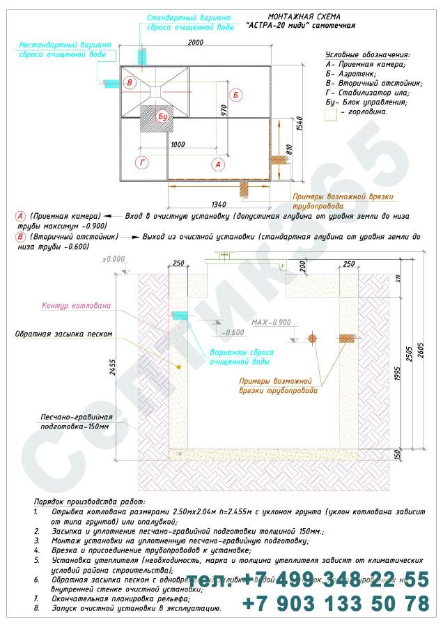 Монтажная схема септик Юнилос Астра 20 Миди