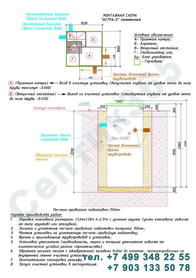 Монтажная схема септик Юнилос Астра 5