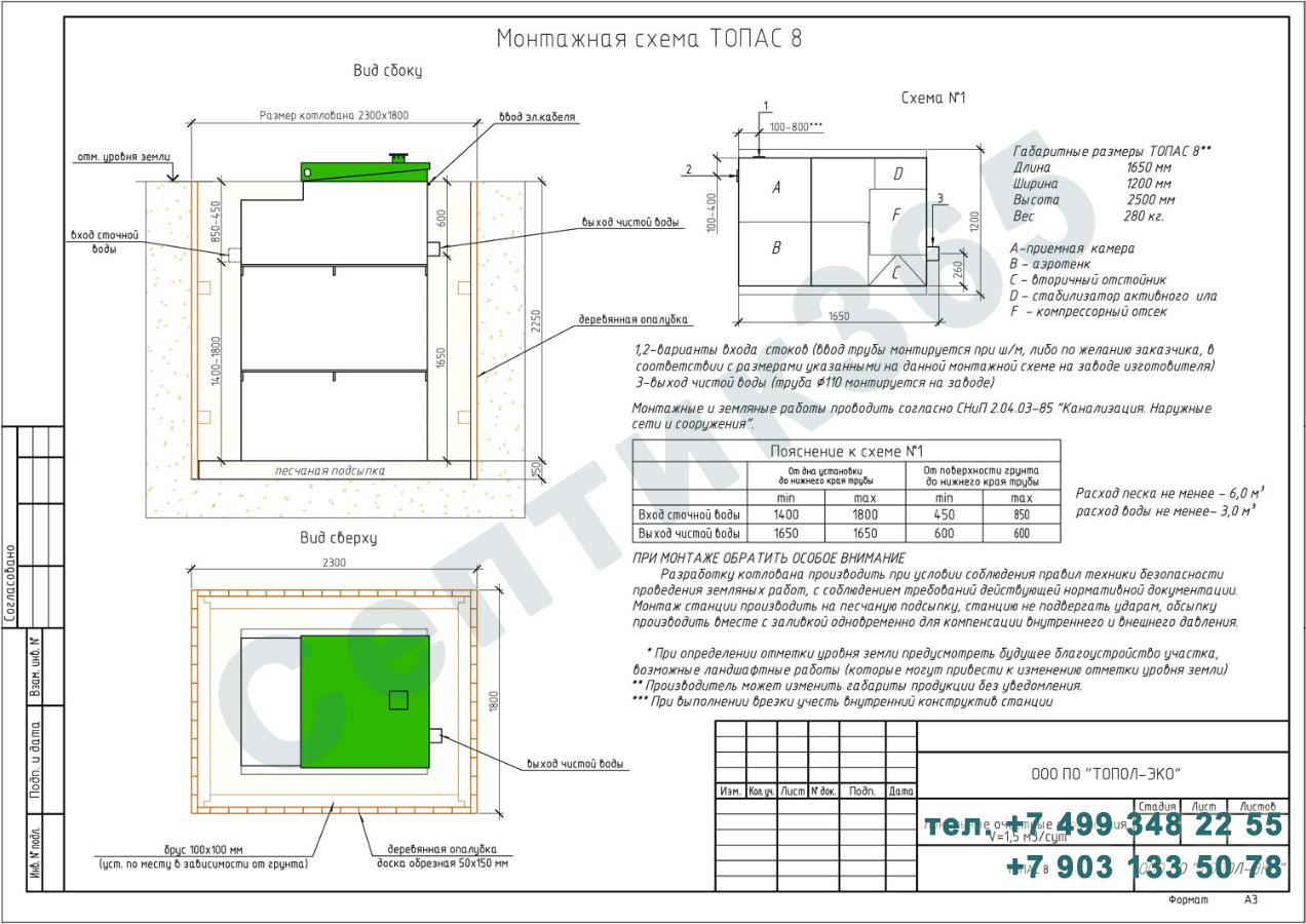 Монтажная схема септик Топас 8