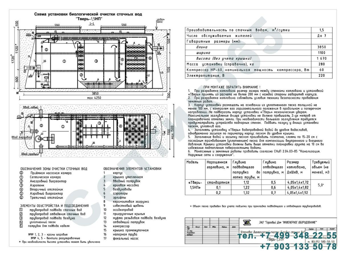Монтажная схема септик Тверь-1,5НП