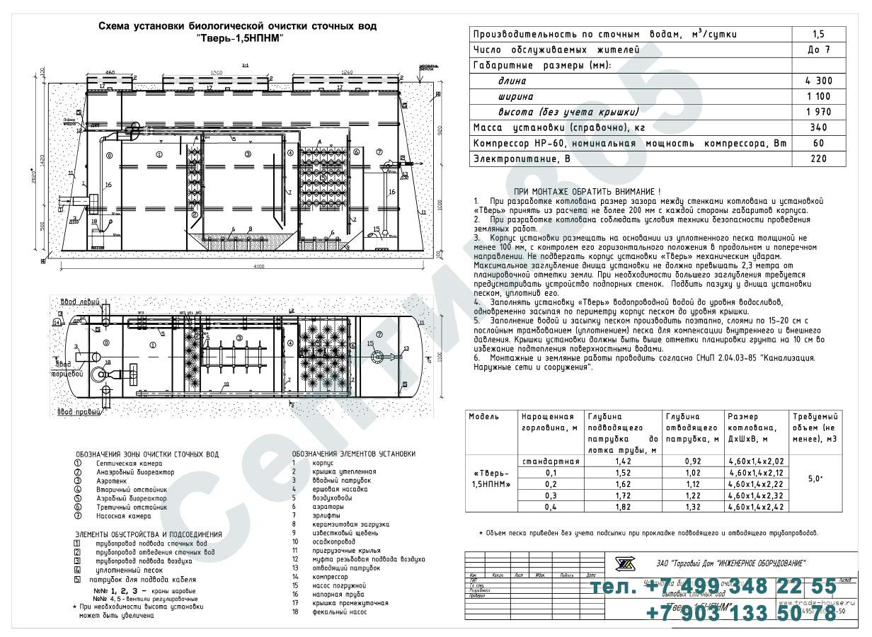 Монтажная схема септик Тверь-1,5НПНМ