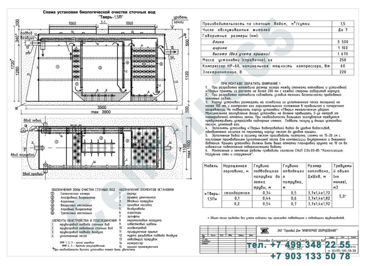 Монтажная схема септик Тверь-1,5П
