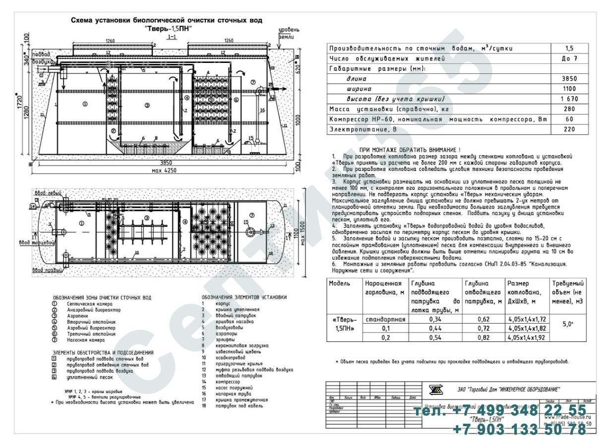Монтажная схема септик Тверь-1,5ПН