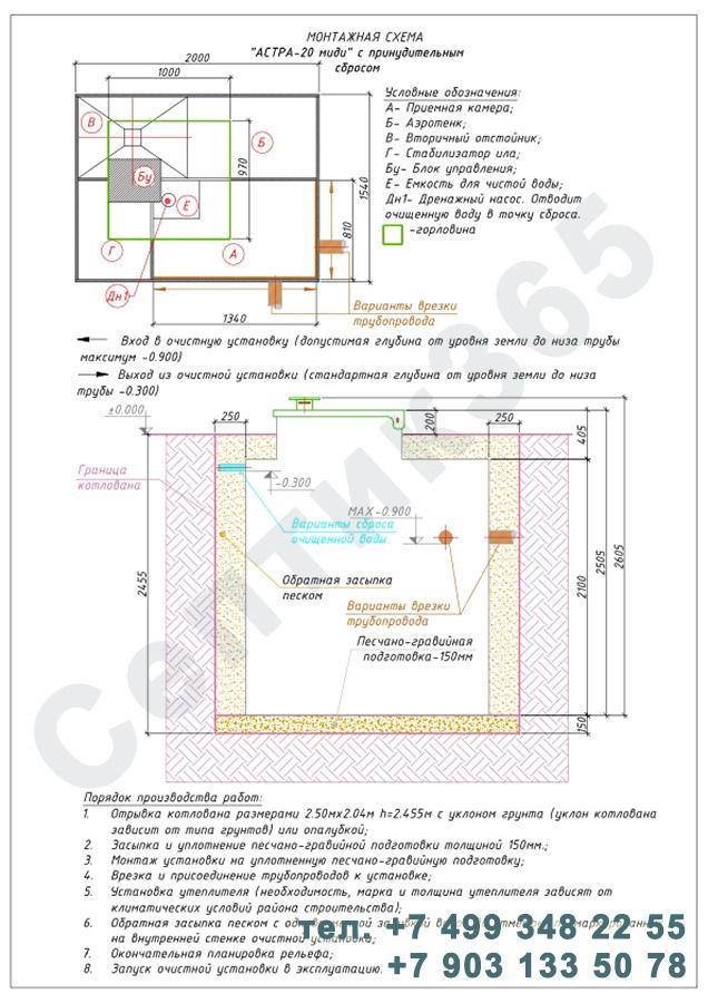 Монтажная схема септик Юнилос Астра 20 Миди Пр