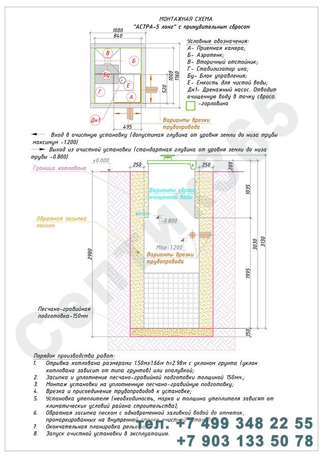 Монтажная схема септик Юнилос Астра 5 Лонг Пр
