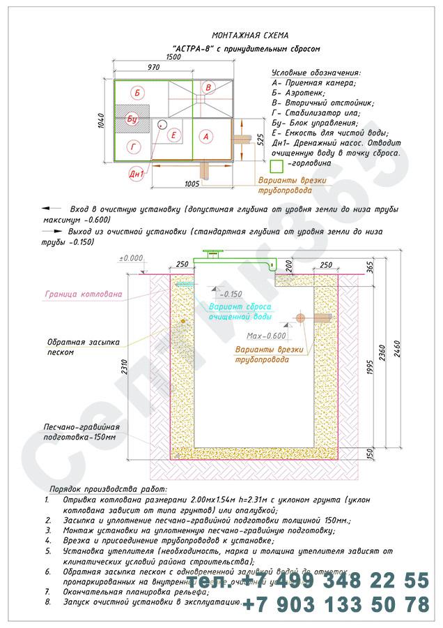 Монтажная схема септик Юнилос Астра 8 Пр