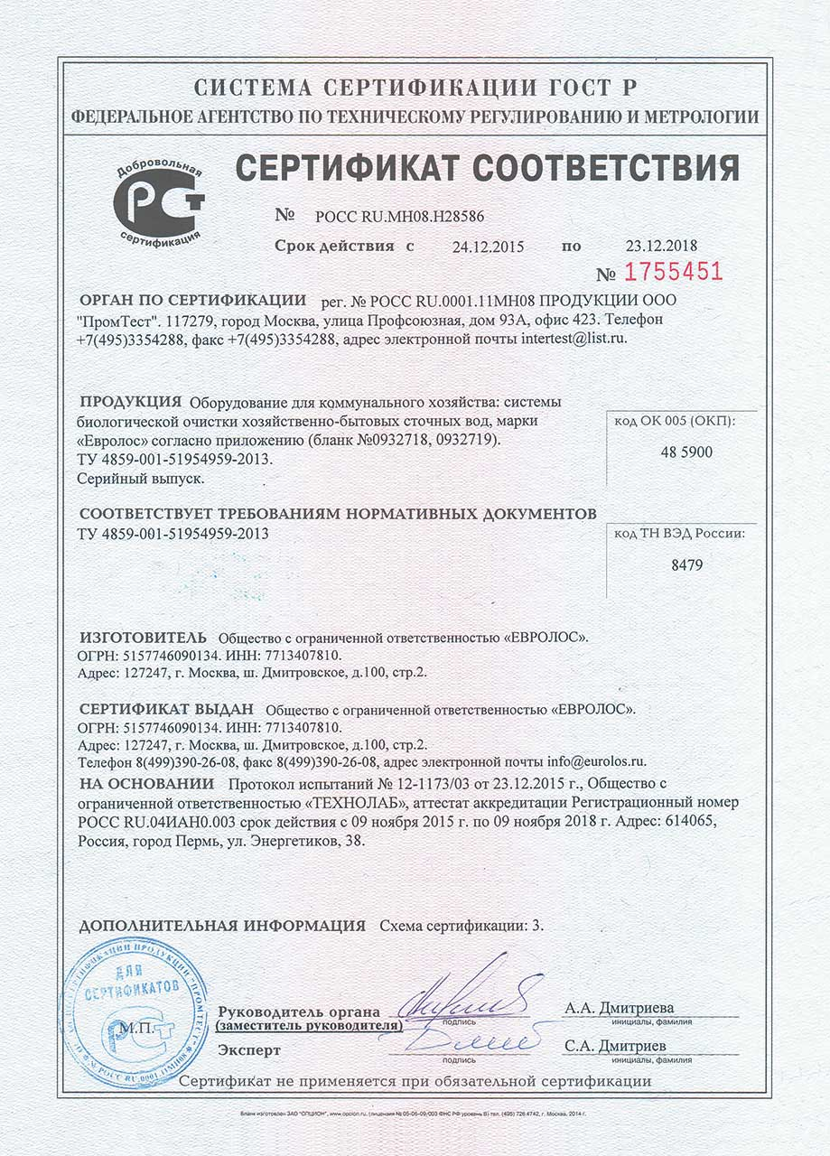 Евролос Сертификат соответствия
