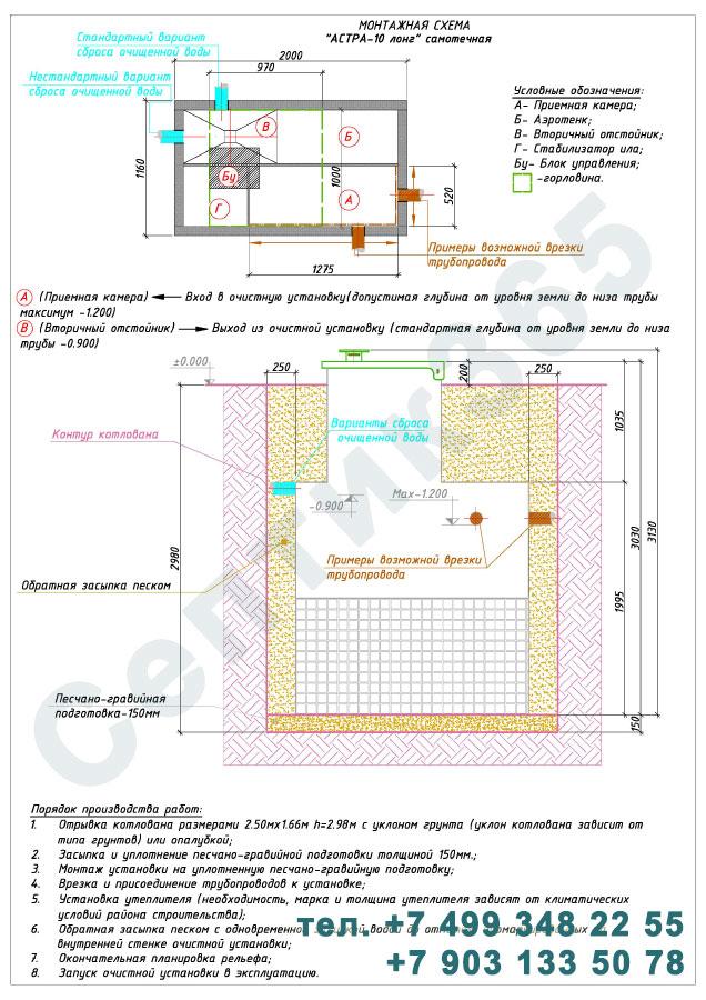 Монтажная схема септик Юнилос Астра 10 Лонг