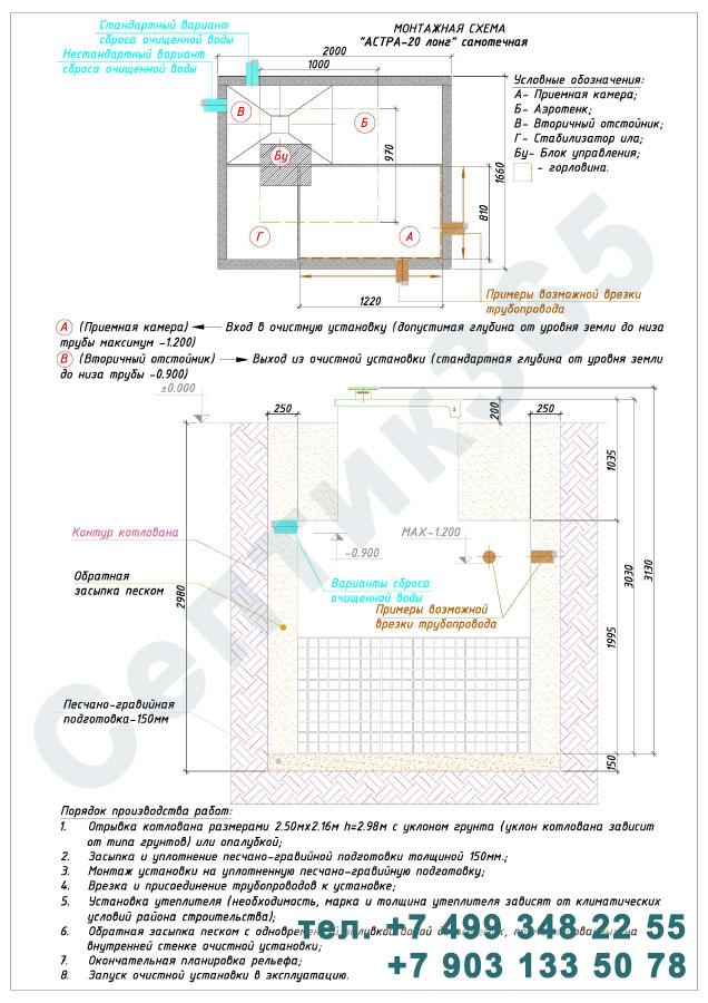 Монтажная схема септик Юнилос Астра 20 Лонг