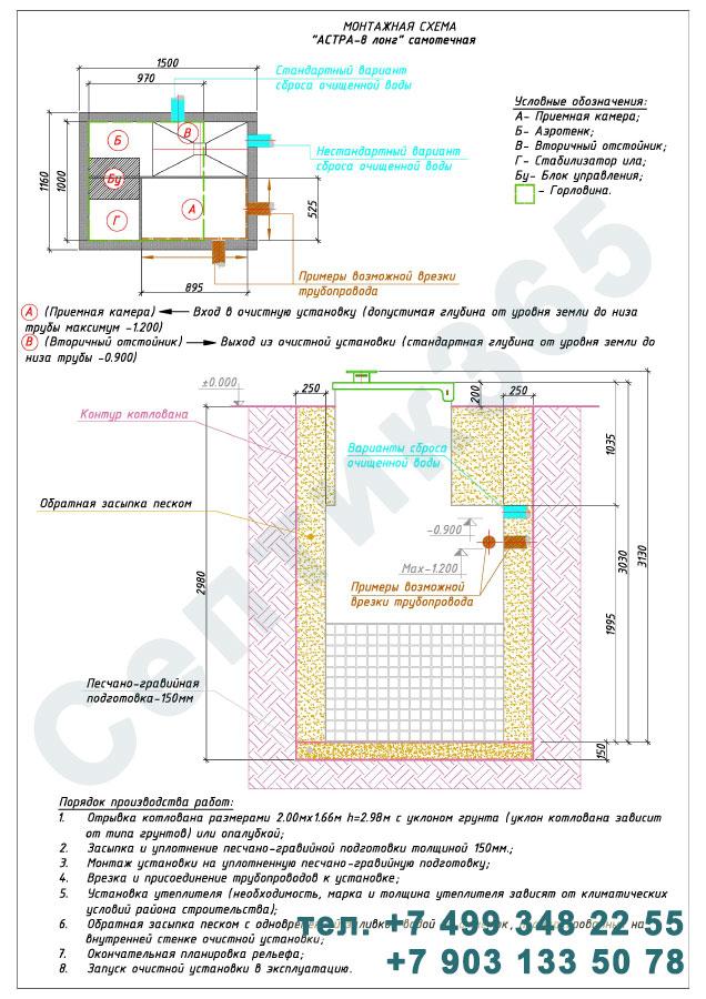 Монтажная схема септик Юнилос Астра 8 Лонг