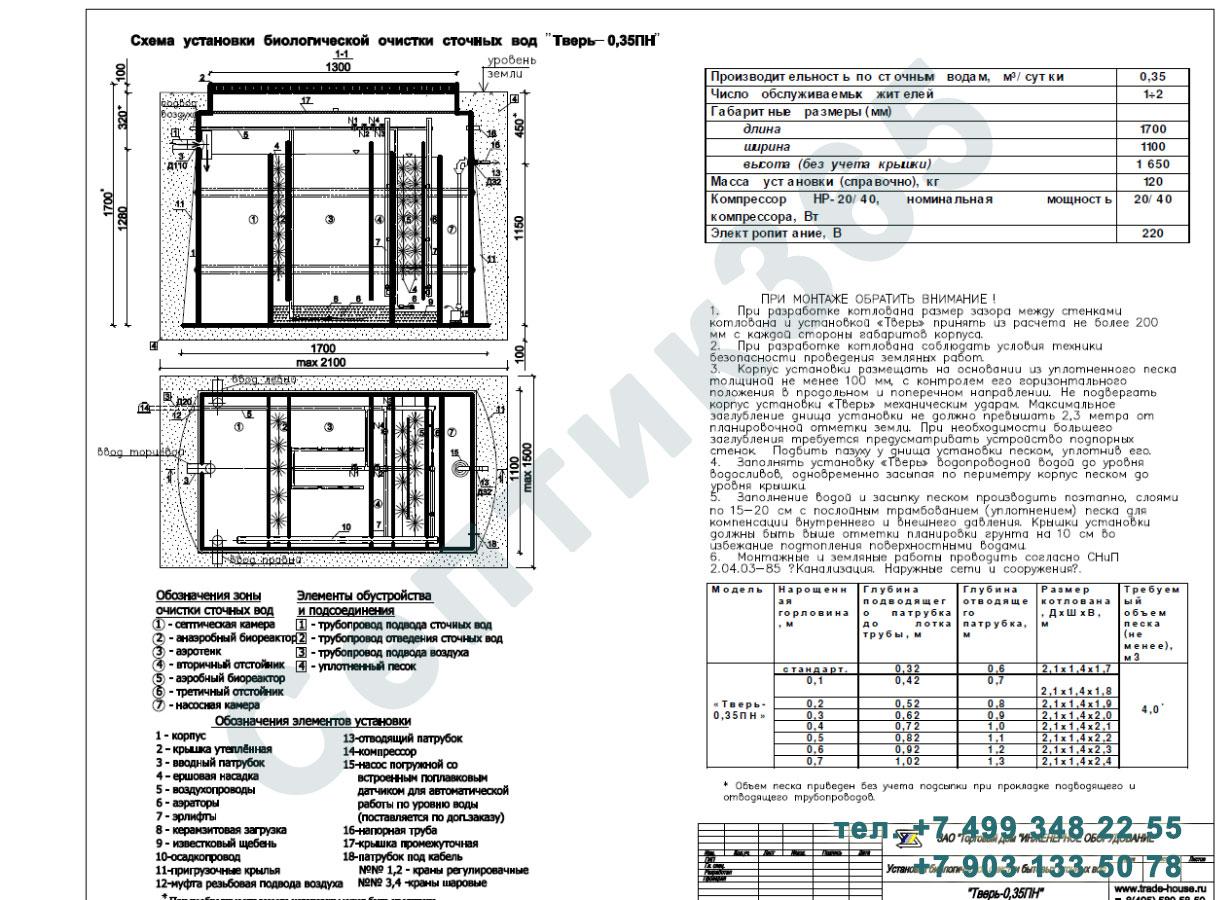 Монтажная схема септик Тверь-0,35ПН