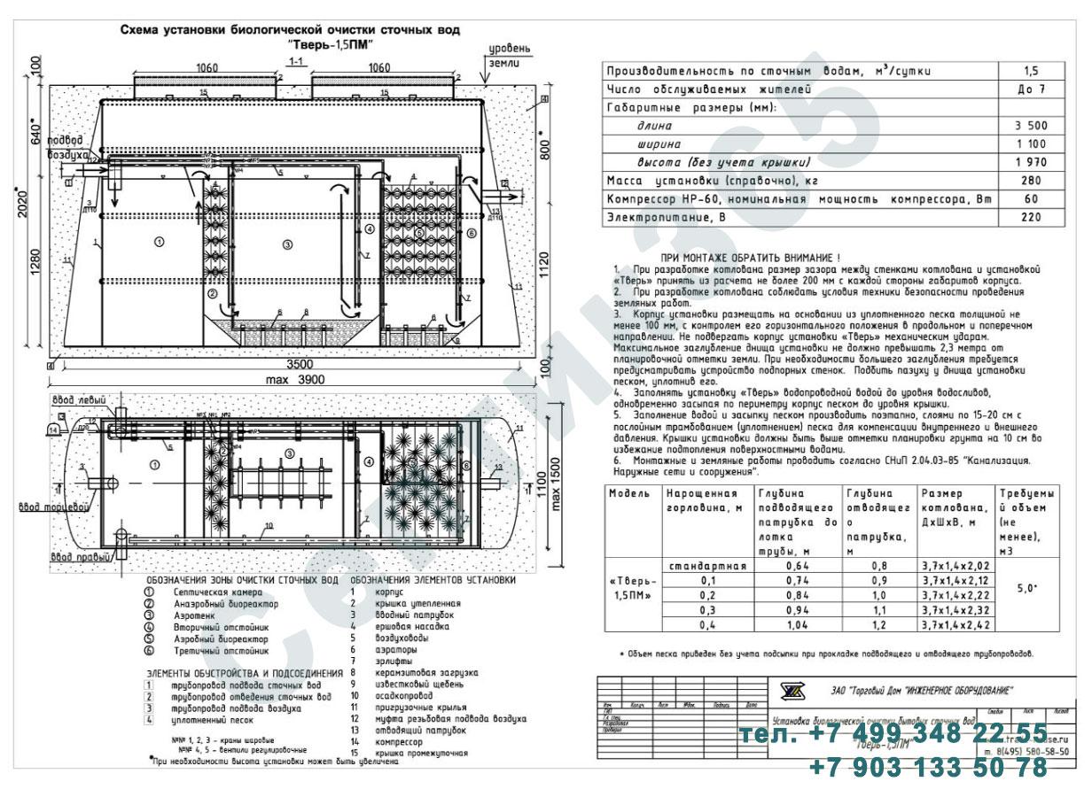Монтажная схема септик Тверь-1,5ПМ