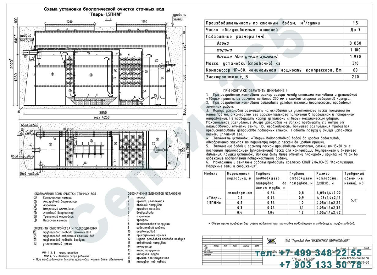 Монтажная схема септик Тверь-1,5ПНМ
