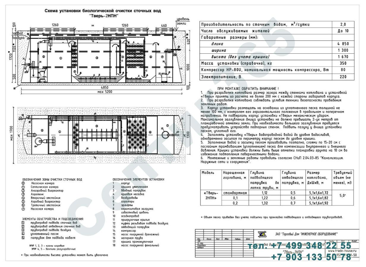 Монтажная схема септик Тверь-2НПН