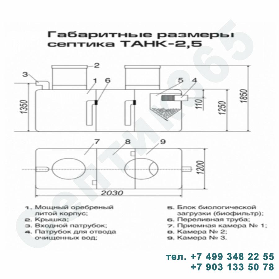 Схема септик Танк 2,5