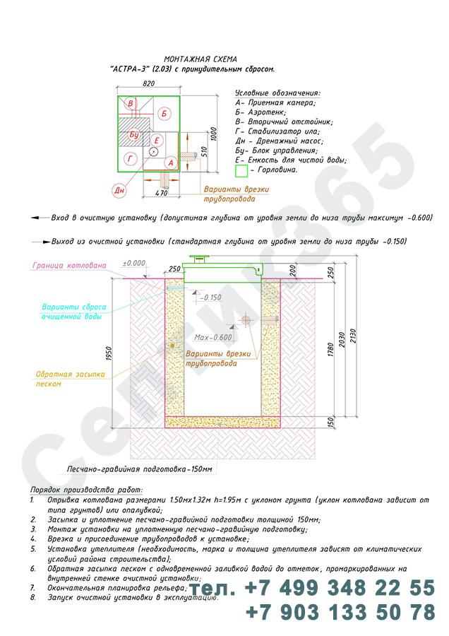Монтажная схема септик Юнилос Астра 3 Пр