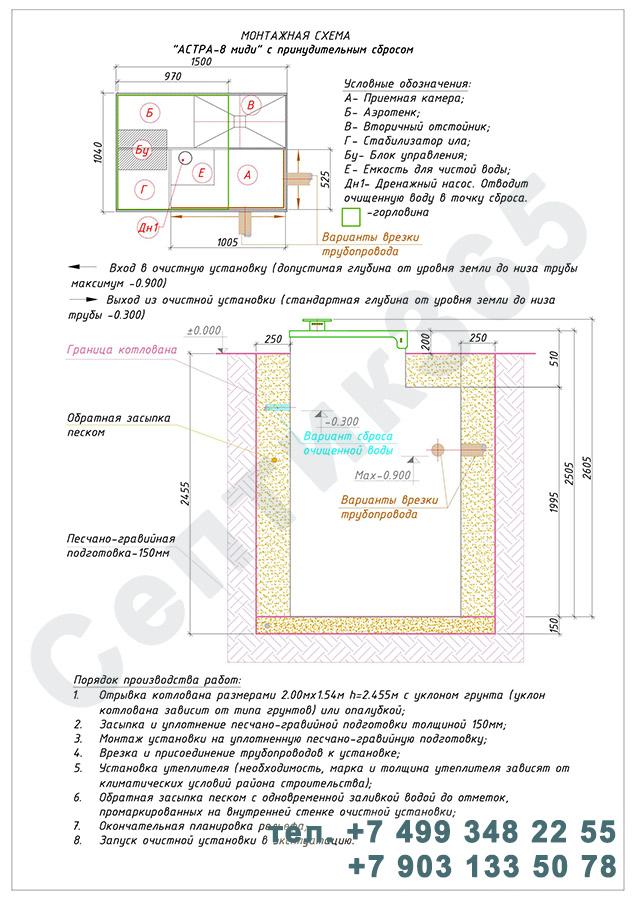 Монтажная схема септик Юнилос Астра 8 Миди Пр